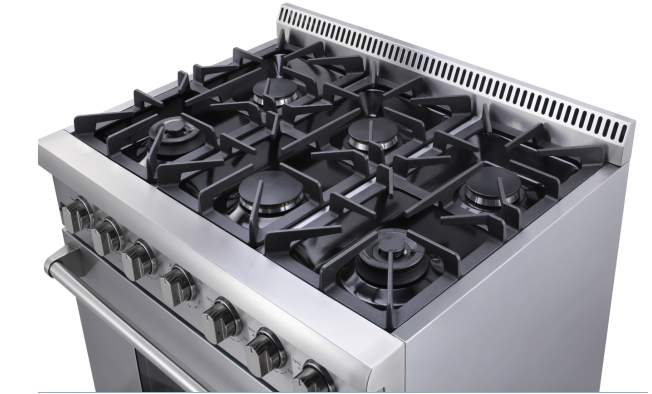 Hyxion 36 inch stainless gas range with grill top