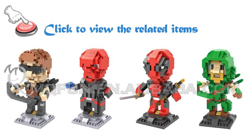 Mini Qute Loz Marvel Avenger Super Hero Red Skull Hawkeye Green ...