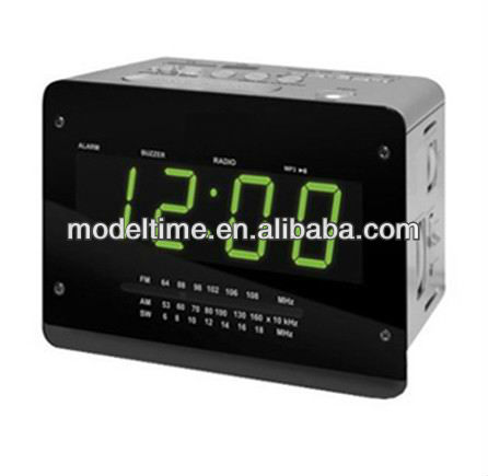 1.5 '' Verde Cor LED Display Alarm Clock com FM AM suporte de rádio USB SD MMC Card receiver