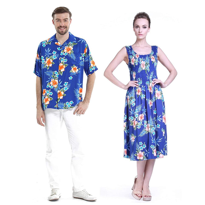 99746872933d Get Quotations · Hawaii Hangover Couple Matching Hawaiian Luau Aloha Shirt  Elastic Elastic Tank Dress in Hibiscus Blue