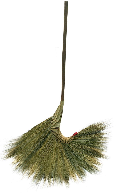 "Broom Grass Thai Tradition Handmade bamboo Handle Sweep Cleaning House ,Straw Soft Broom Decor Gift Halloween hand grip brown 42"" 1pc"