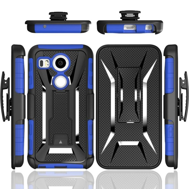 Supply Anti-shock TPU+PC Hybrid T-Shaped Stand Holster Combo Belt Clip Mobile Phone Cases For LG Nexus 5X