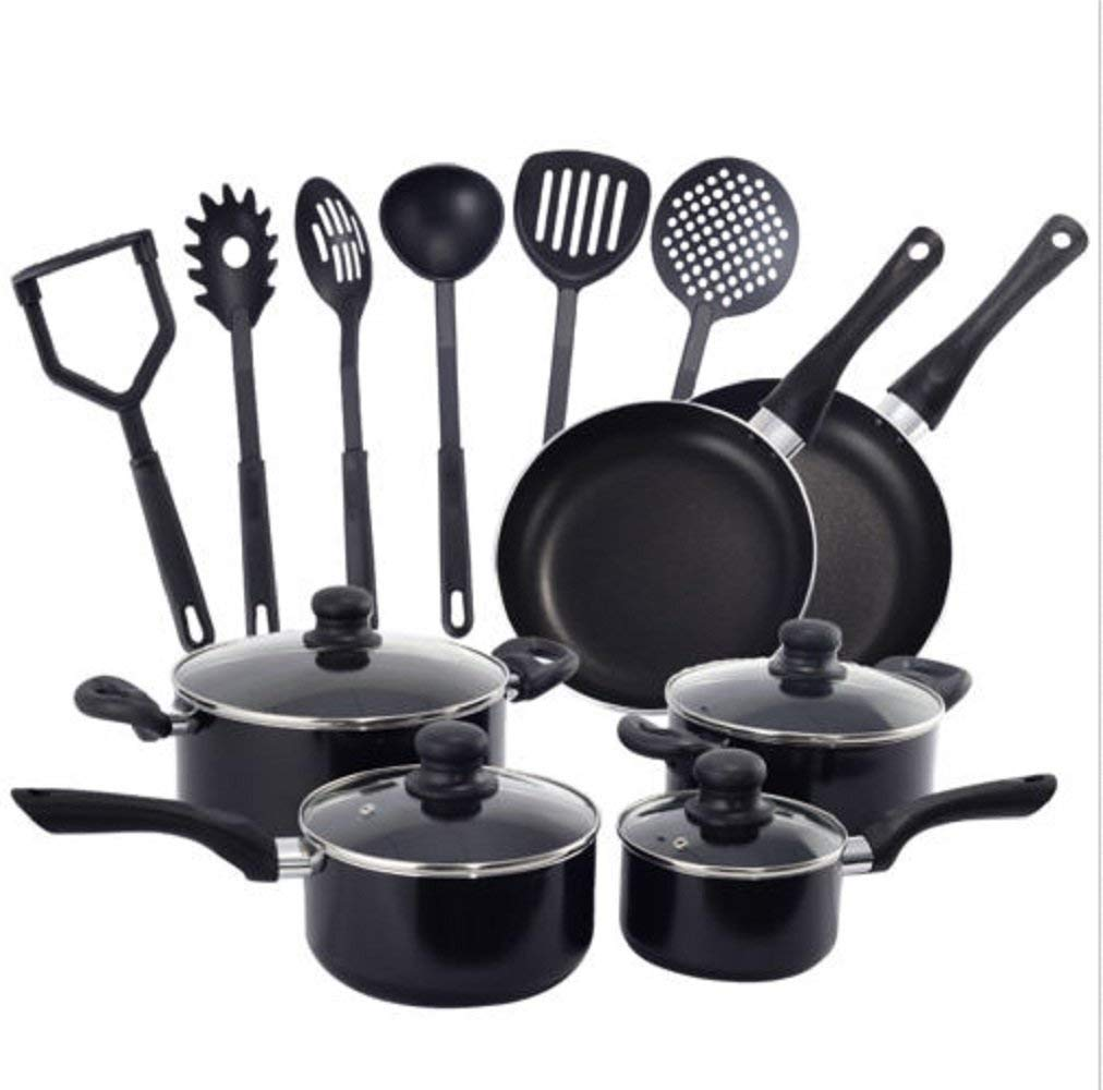 Hermes2shop 16 Piece Non Stick Cooking Kitchen Cookware Set Pots And Pans Kitchen