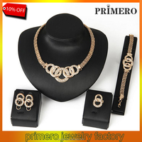 PRIMERO Jewelry Sets African ethnic Collar Statement Necklace Earrings Bracelet Fine Rings For Women CZ Diamond Vintage Party