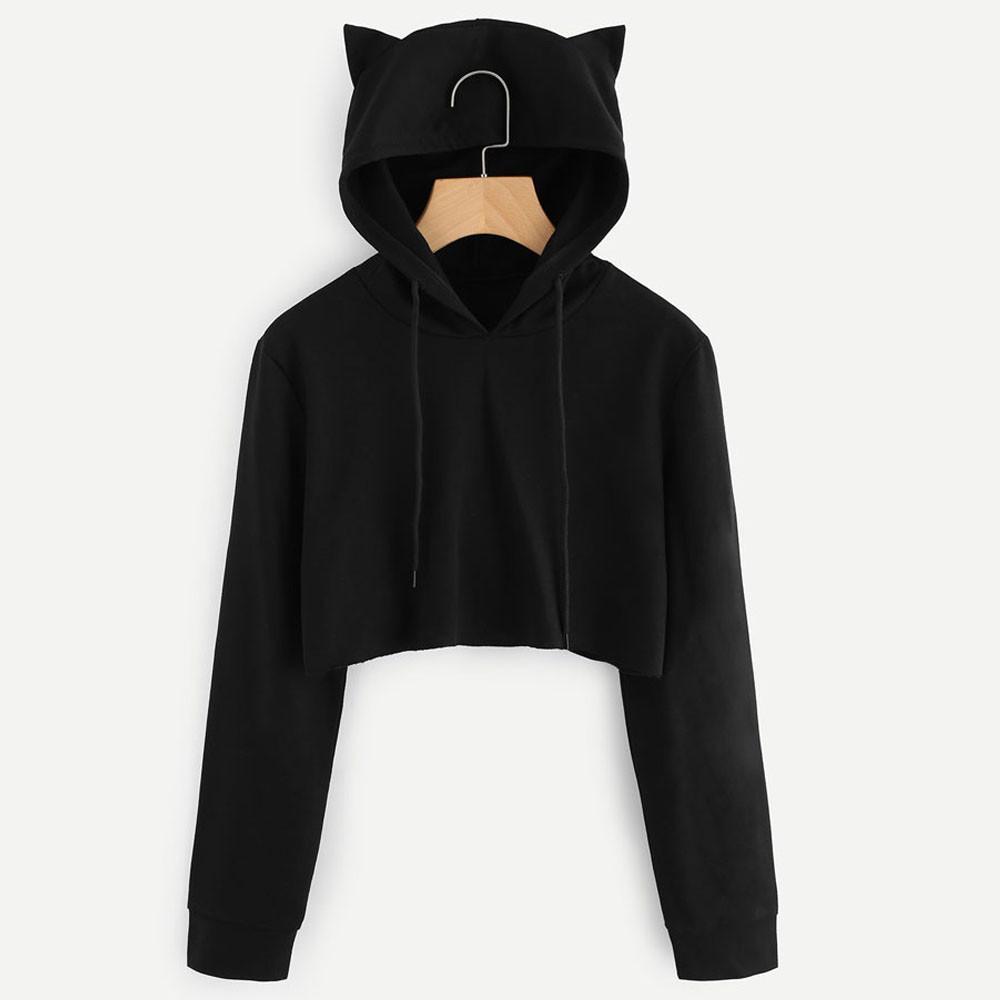 5dfc178a5736 2018 Fashion cute womens sweatshirts hoodie crop top hoodie solid cat ear  long sleeve hoodie for women Outerwear
