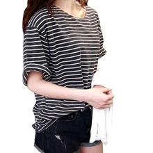 New 2014 summer mm all-match basic shirt female top young girl stripe loose half sleeve HARAJUKU t-shirt  Factory Wholesale