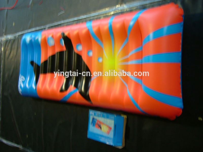 PVC inflatable air filled colorful mattress float /inflatable air mattress with colorful for water sports