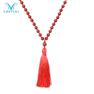 Wholesale beaded red agate stone knot gemstone tassel pendant necklace for women