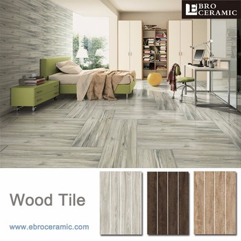 2017 Light Grey Color Non Slip Wood Look Porcelain Floor Tile