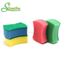 Nylon scouring pad green fiber unusual shape cleaning foam sponge