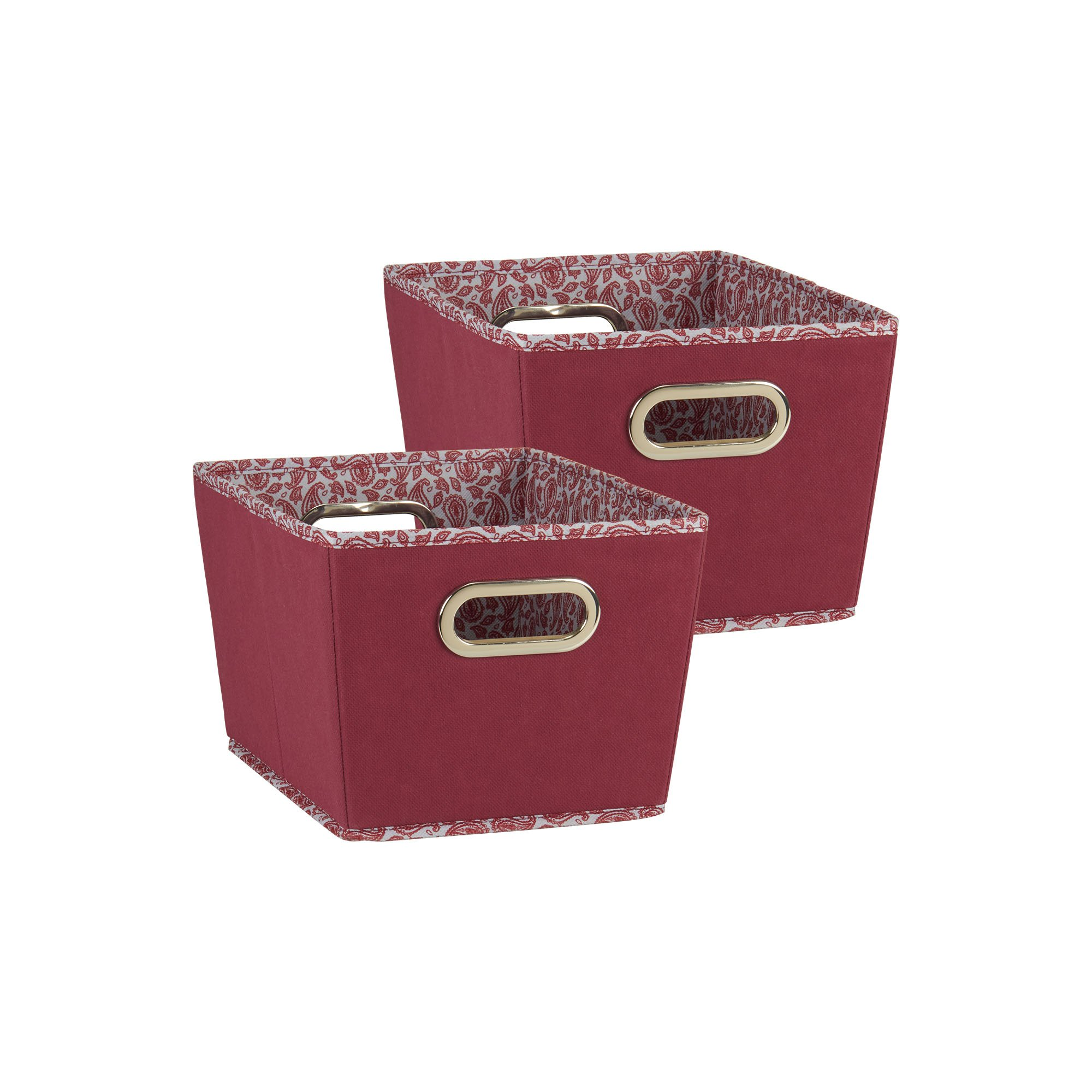 Household Essentials 75 Small Tapered Decorative Storage Bins | 2 Pack Set Cubby  Baskets | Red