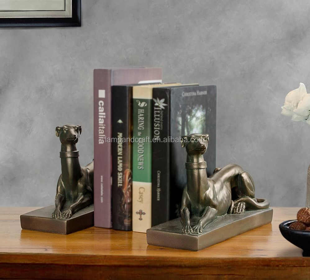 United State Antique Resin Custom Bookends With Bronze Animal Dog Statue Bookend Home Accessories Decor Arts And Crafts Supplier