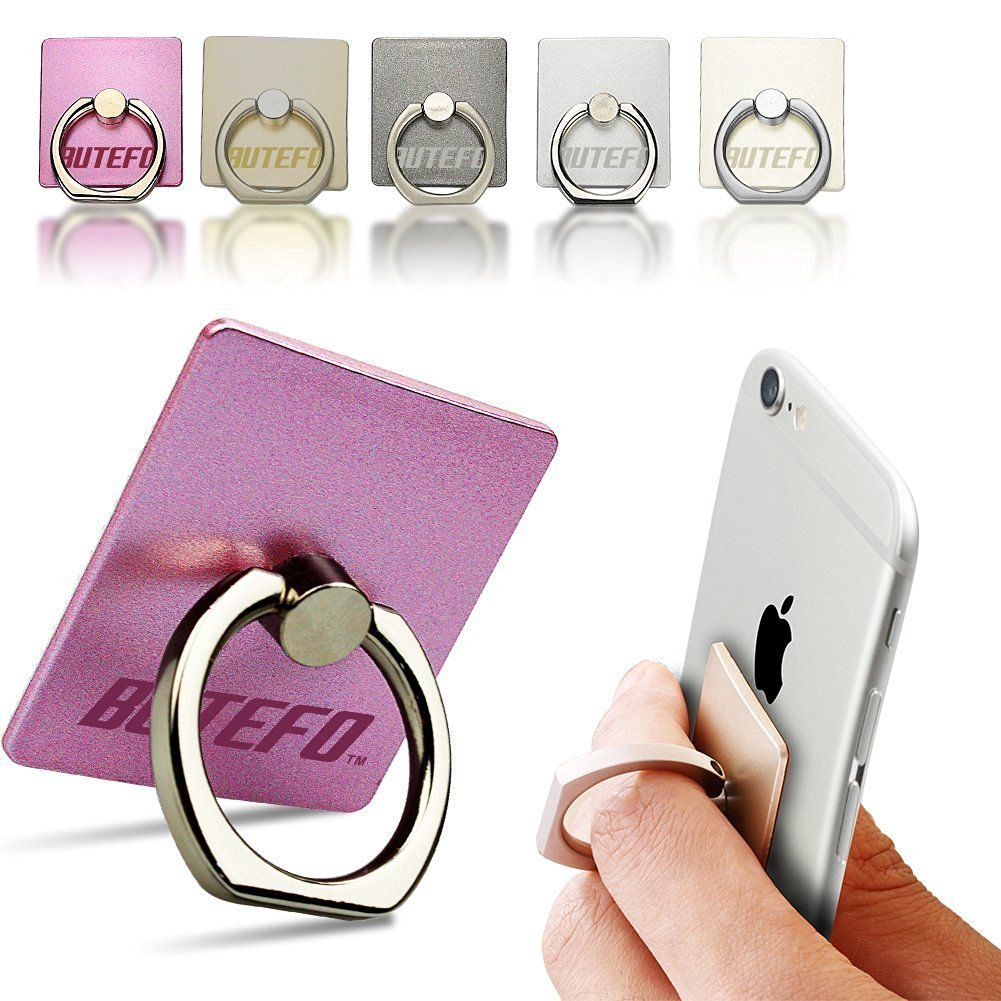 BUTEFO Smart Ring Stand Holder - Mobile Phone Ring Stent - Anti-theft Clasp - Anti-drop - 360 Degree Rotating Metal Ring Holder Mobile Phone Stand (Gold)