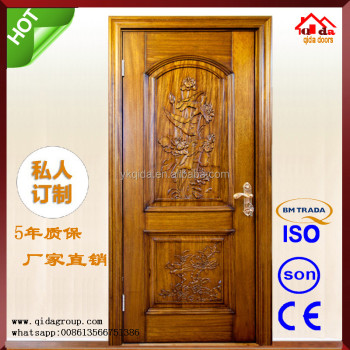 China Carving Wooden Single Main Entrance Door Design