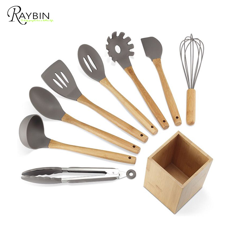 Silicone Kitchen Utensils 9-Piece with Bamboo Wood Handles for Nonstick Cookware, Utensils Holder Included