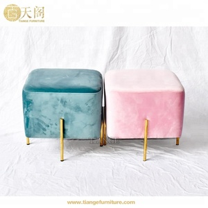 Italian Furniture Golden Metal Legs Square Elephant Ottoman Pouf