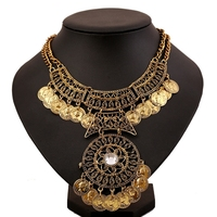 Exaggerated Design Indian Chunky Round Coin Choker Necklace Gold Silver Plated Chain Statement Necklace For Women