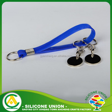 Wholesale souvenir two sided custom 100% silicone band keychain
