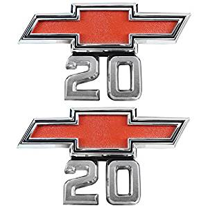 (2) 67-68 Chevrolet Chevy Pickup Bowtie 20 fender emblem C/K Suburban