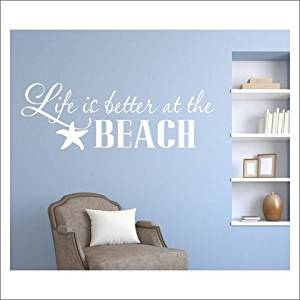 Get Quotations · Removable Wall Decals Stickers Life Is Better At Beach  Wall Decals Quotes For Bedrooms Wall Stickers