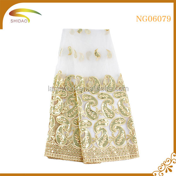 Wholesale African french glitter tulle mesh lace/lace african/corded lace fabric ivory white