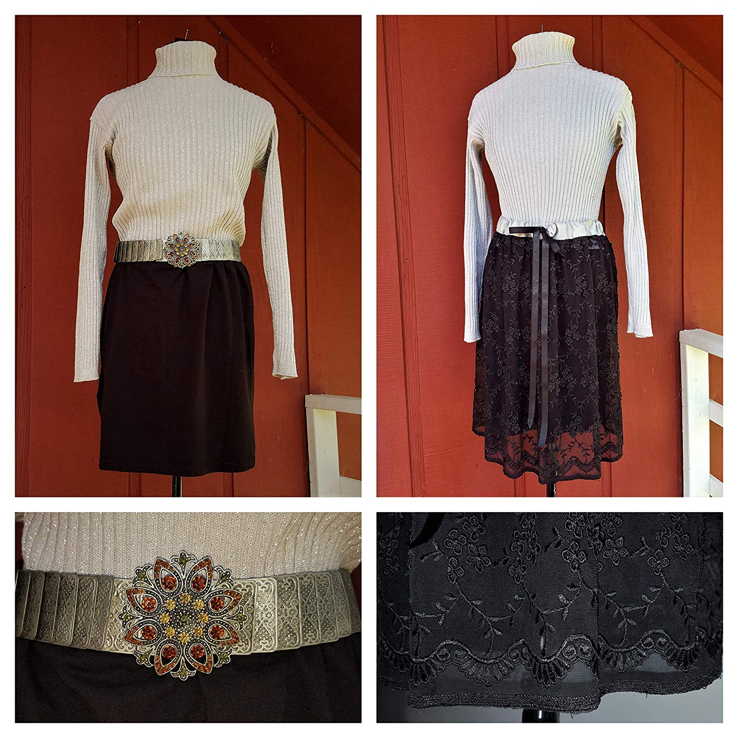 9a2de36d3ae Get Quotations · Woman s Black and Silver Sweater Dress w additional Black  Lace Skirt and Stunning Belt.