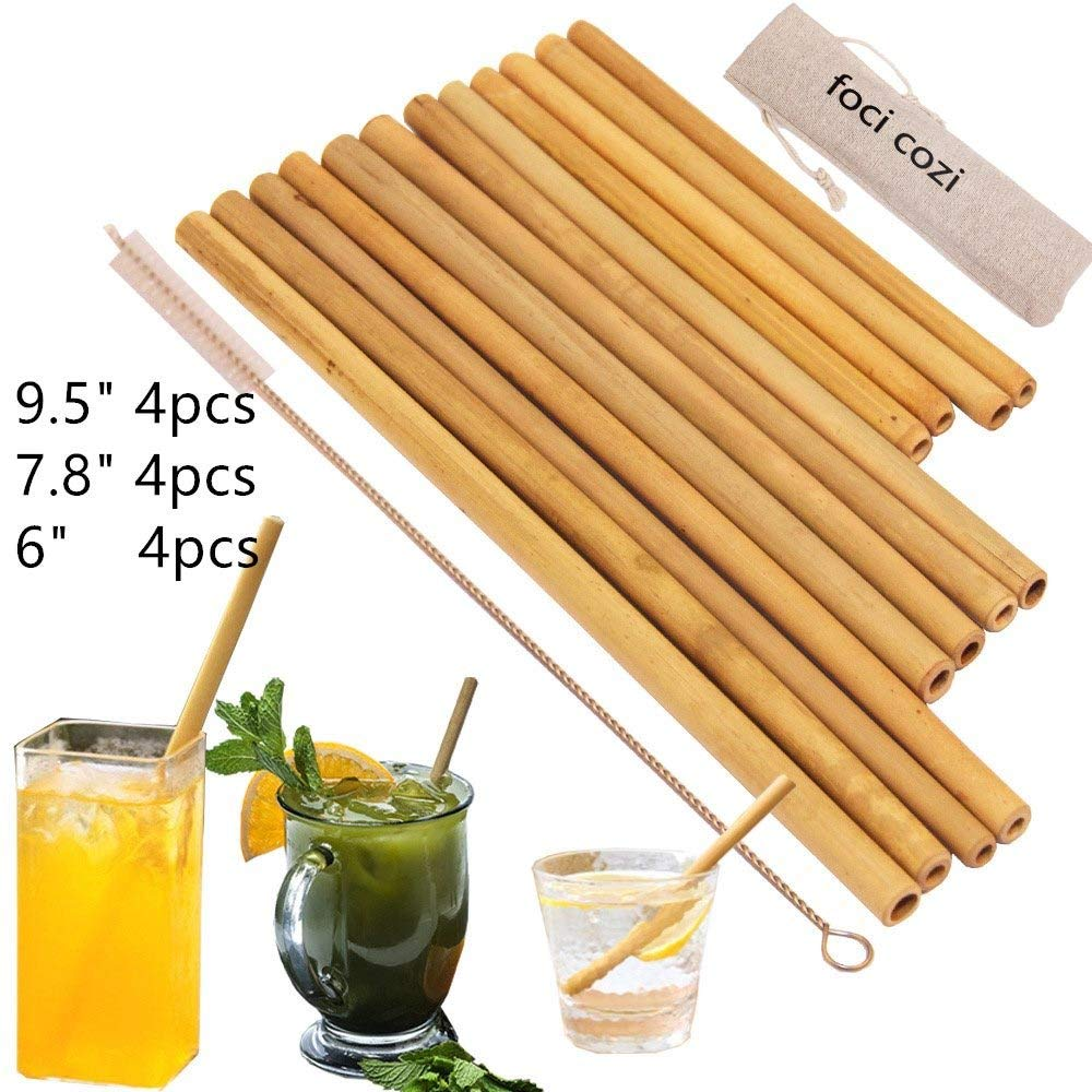 """Organic Bamboo Drinking Straws. Reusable Bamboos Straws Alternative to Plastic Kids Straws. Set of 12 Reusable Bamboo Straws with 3 Sizes 6"""", 8"""", 9""""for different size Cups - Includes 1 Bonus Nylon C"""