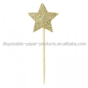 NEW Cupcake Toppers Cake Picks Cake Topping Paper Star Gold Glitter