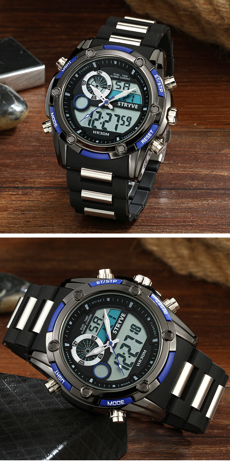 STRYVE Men Sports Watches Waterproof LED Digital Quartz Men Military Wrist Watch Clock Male Relogio Masculino