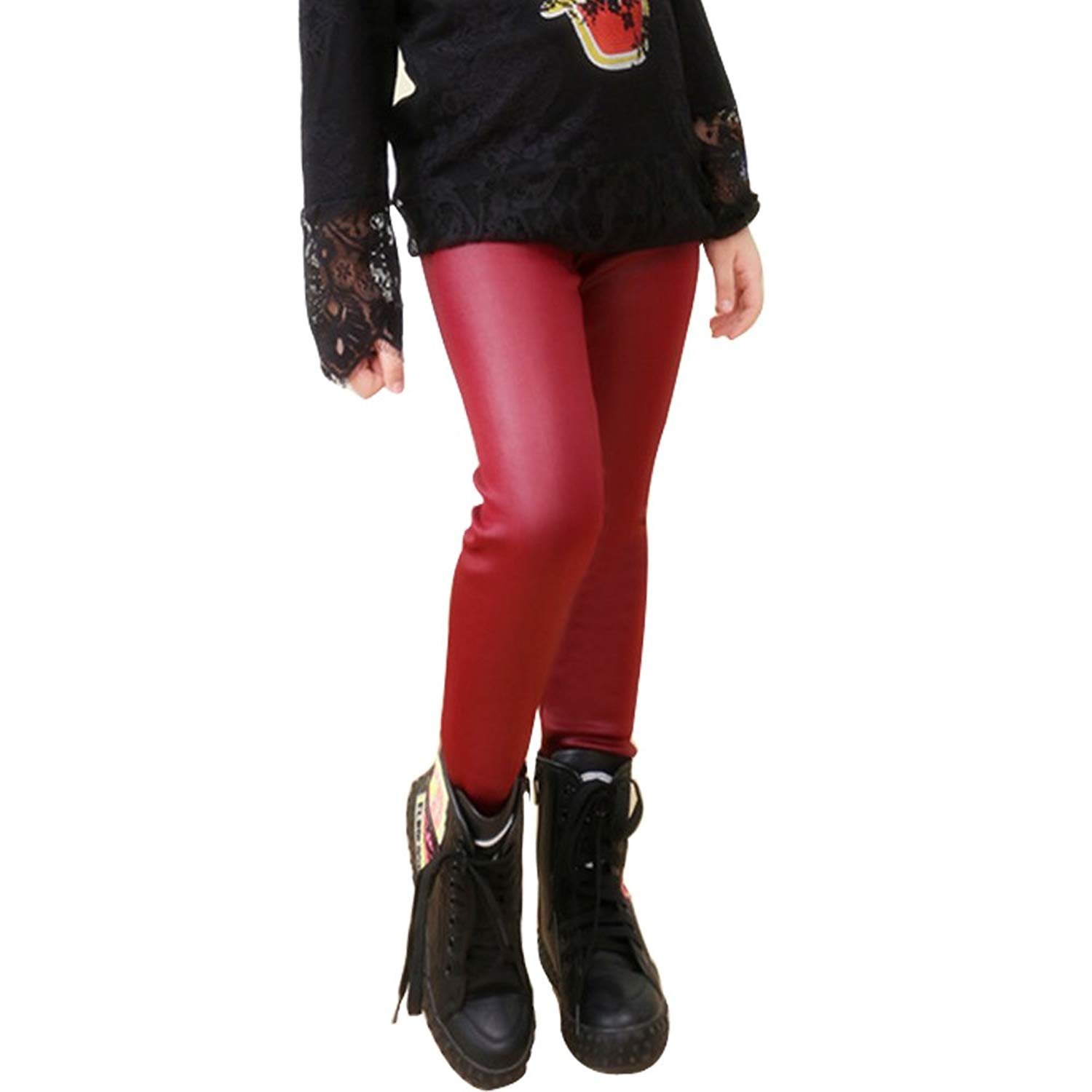Tulucky Girls Winter Warm Pants Thick Fleece Lined Faux Leather Stretchy Teens Leggings