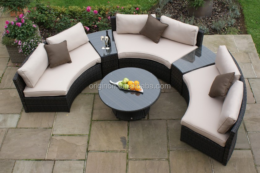 6 Pc Luxury Hotel Outdoor Half Round Sofa And Side Table Poly Rattan Semi Circle Patio
