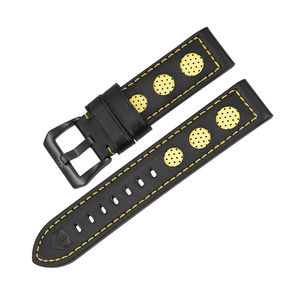 WEIDE Genuine Leather Watchbands 22mm Waterproof Calfskin Watch Straps Black Buckle Bracelet Black 22mm Watch Band