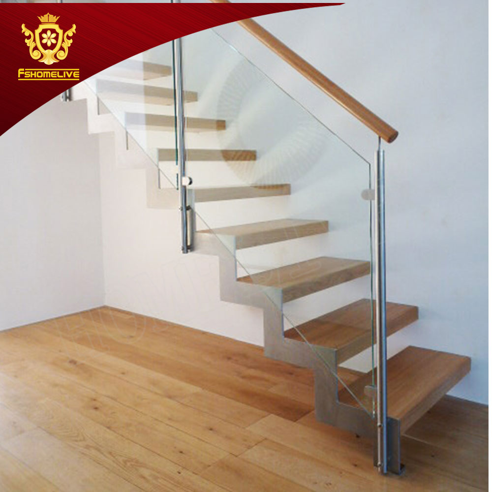 Modern Precast Wooden Staircase Metal Deck Safety Rails Indoor Straight Stairs