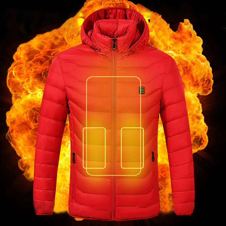 Outdoor Windproof Washable Rechargeable Coats Infrared Heated Down Jacket with Hood for Men and Women Battery Not Included