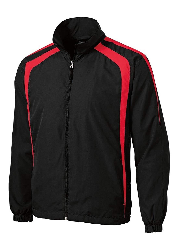 Joe's USA(tm) Mens Lightweight Full-Zip Wind Jacket-Black/Red-M