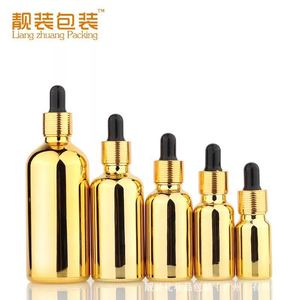 Custom made 10ml 30ml gold silver plating glass dropper essential oil glass bottle with dropper