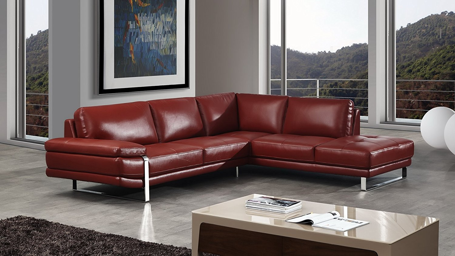 American Eagle Furniture 2 Piece King Collection Premium Italian Leather Sectional, Sofa & Right Chaise, Red