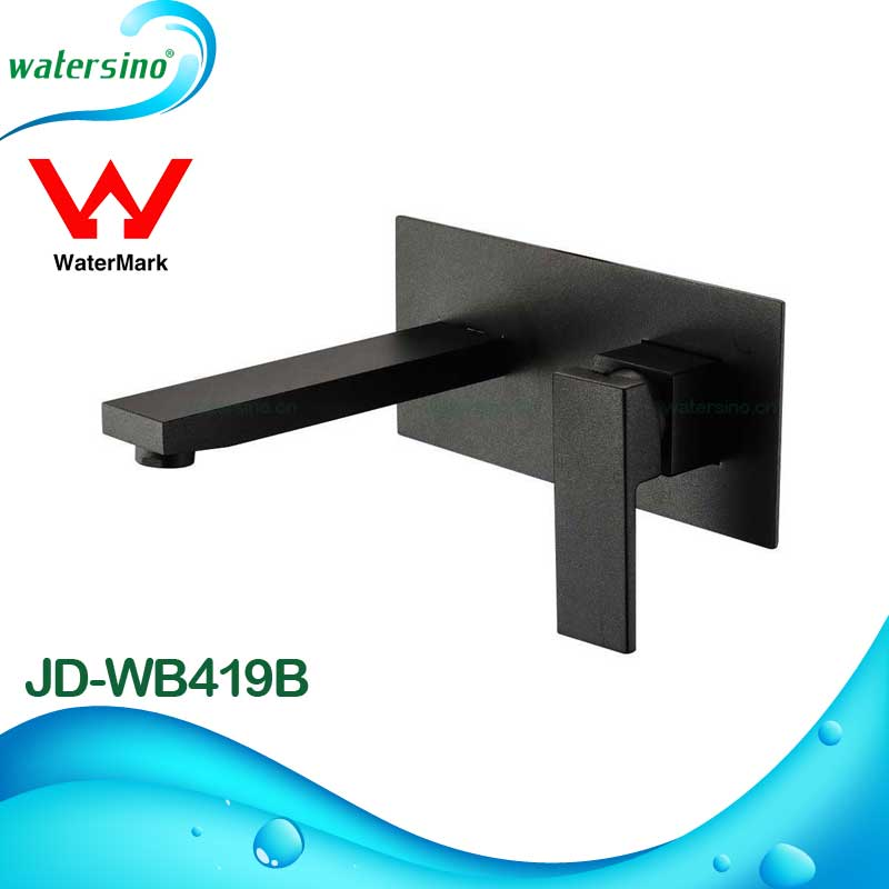 Matt black plated Basin mixer faucet wall mounted basin mixer taps Watermark approved