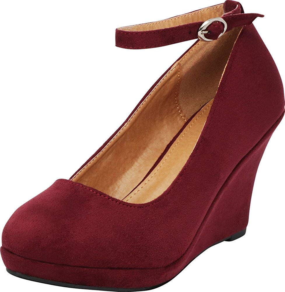 70e59ae63f8 Get Quotations · Cambridge Select Women s Classic Closed Round Toe Buckled  Strappy Ankle Platform Wedge