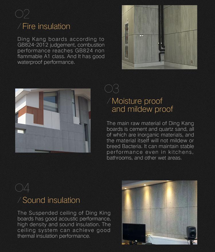Houtnerf oppervlak cement boord gevelbekleding panel non asbest uit China