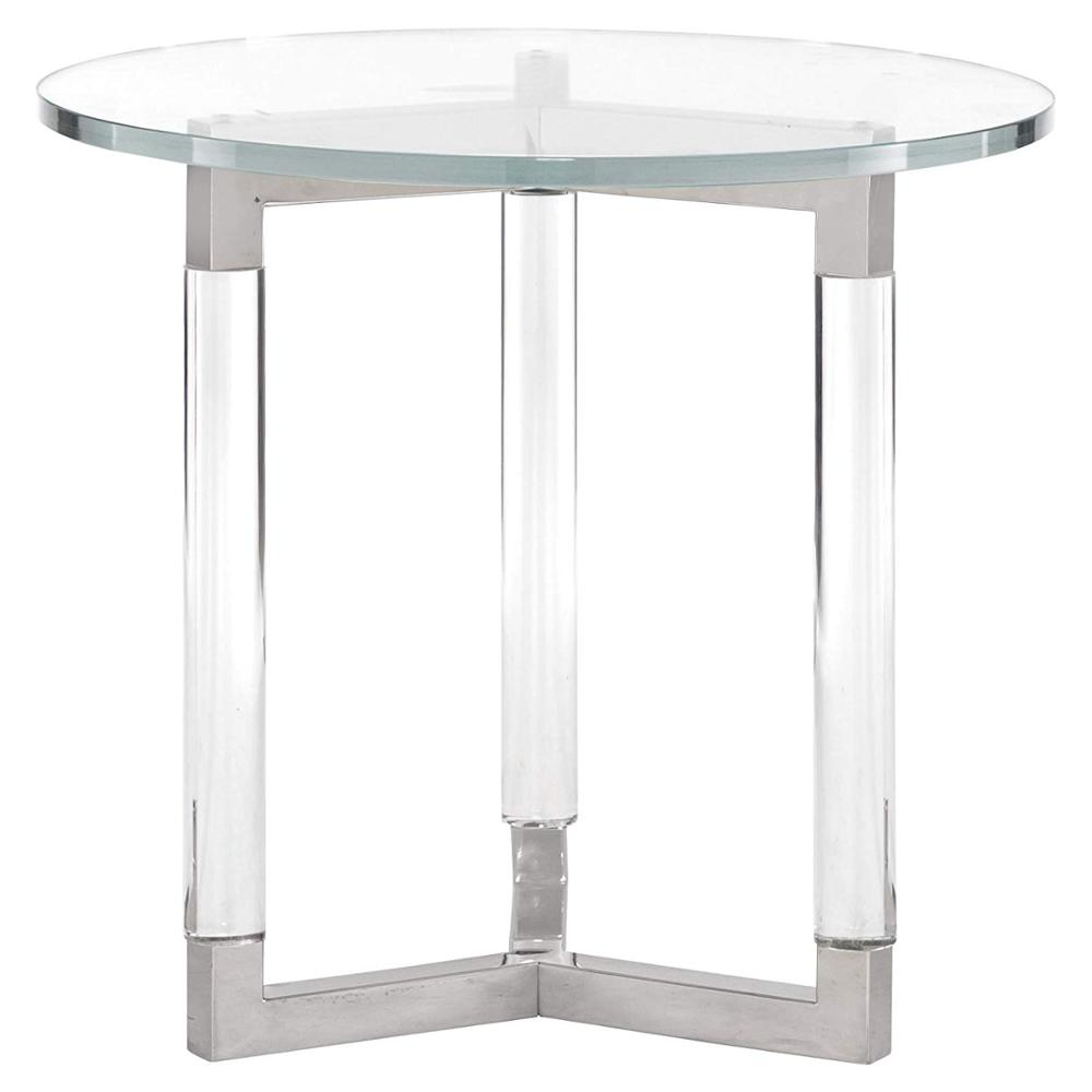 Acrylic Post Polished Silver Stainless Steel Round Glass End Table