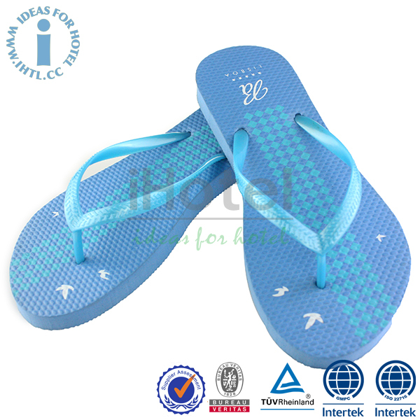 Custom Indoor Light Blue Plush Slipper Flip Flop