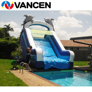2017 top quality inflatable slide factory price commercial PVC dolphin cheap inflatable used swimming pool water slide for sale