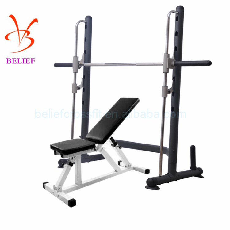 Multifunctional safety rail weight lifting bench and squat rack