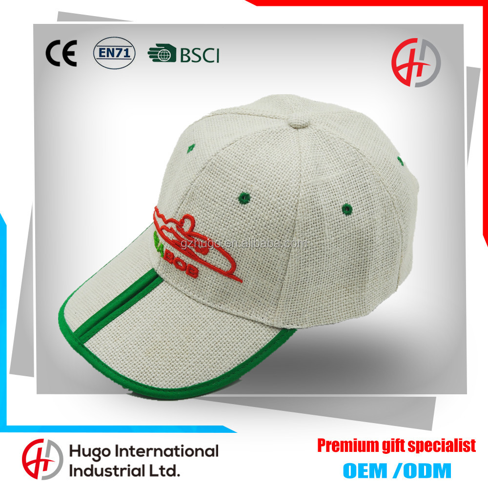 New Arrival High Quality Curve Custom Su generis 6-panel Baseball Linen Cap Straw Hats With handwork embroidery designs