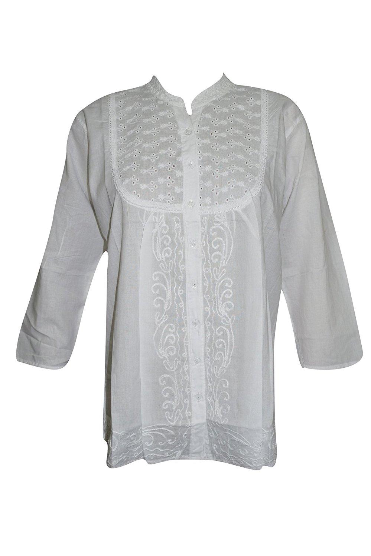 Mogul Interior Womens Tunic Cotton White Lace Embroidered Kurti Blouse Boho India
