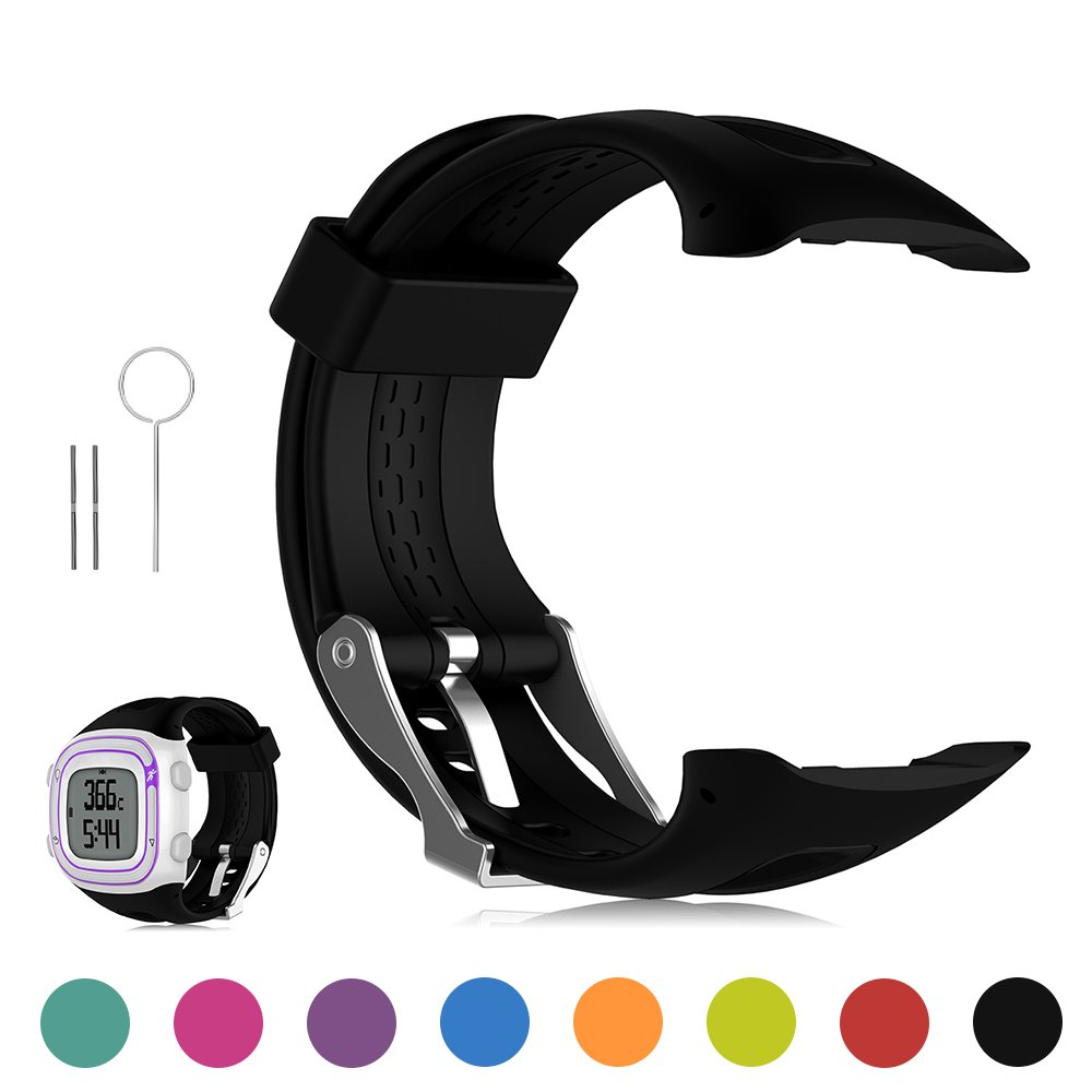 Garmin Forerunner 10 / Forerunner 15 GPS Running Watch Replacement Band - Feskio Soft Silicone Replacement Wrist Watch Strap for Garmin Forerunner 10/Forerunner 15 GPS Running Watch (Small/Large Size)