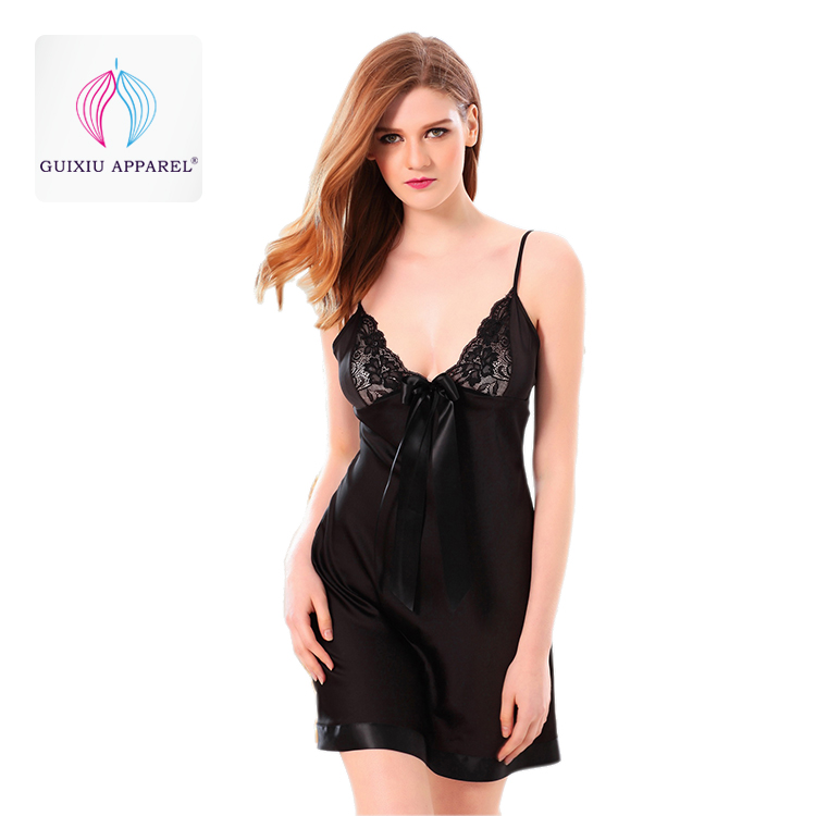 Women's lace sleepwear softest women's pajamas black silk night dress long satin chemise nightdress
