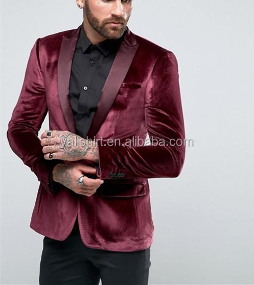 8b3cfea8918c1 De skinny de terciopelo formal de negocios trajes slim fit chaquetas para  los hombres