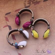 LZ Jewelry Hut R92 R93 The 2016 New Wholesale Fashion Personality Cute Candy Headphone Rhinestone Rings